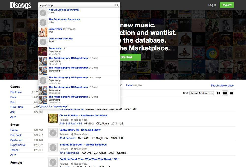 Discogs Predictive Search